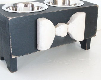 Dog Feeder, Elevated Dog Bowl, Pet Furniture, Feeding Stand, Black with White Wood Bow Custom
