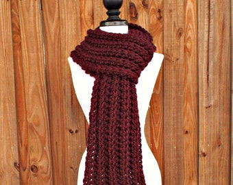 Crochet Scarf Womens Scarf Mens Scarf Ribbed Scarf - Wellington Scarf in Oxblood Red Scarf Burgundy Scarf - Womens Accessories