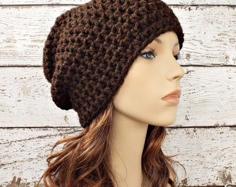 Brown Crochet Hat Brown Womens Hat Brown Mens Hat - Walnut Brown Slouchy Beanie - Brown Hat Brown Beanie Womens Accessories Winter Hat