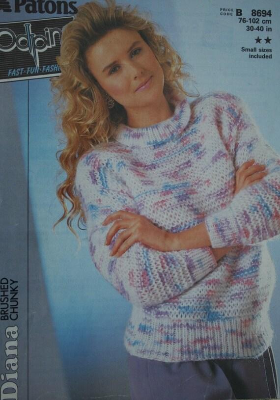 Patons Chunky Knitting Patterns : Sweater Knitting Pattern Odpins Patons B8694 Fast Quick Women