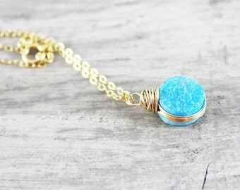 Sky Blue Druzy Necklace, Gold Fill Necklace, Druzy Gemstone Necklace, Wire Wrap Necklace, Light Blue Necklace, Small Pendant Necklace