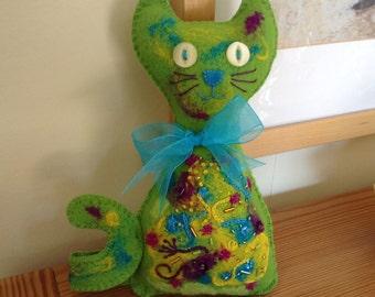 Green Felt Cat, Felt Cat, Needle Felt Cat, Bright Colours Cat, Cat Lovers Gift, Embellished Cat