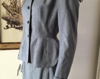 1950s Grey Wool Skirt Suit