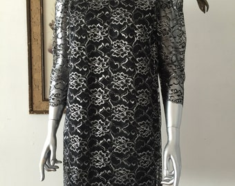 Gorgeous 1960s Black and Silver Metallic Party Dress