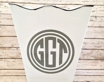 custom monogrammed scalloped wastebasket trash bin