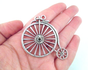 Big silver plated bicycle pendants, penny farthing, pick your amount, D76