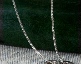 Silver Hoop/Ring Necklace - Plain Double Hoop