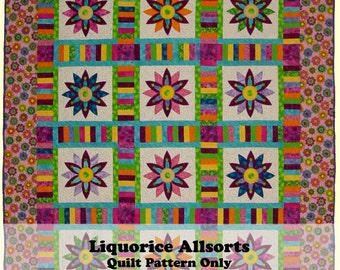 Liquorice Allsorts Quilt Pattern. A bright scrappy quilt for lovers of appliqué - novice and expert alike.