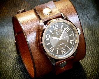 Leather cuff watch Brown vintage style leather cuff bracelet Best quality Made for YOU in NYC by Freddie Matara!