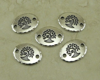 5 TierraCast Tree of Life Oval Links * Bodhi Buddhist Mother Earth Nature - Fine Silver Plated Lead Free Pewter I ship Internationally 3186