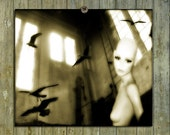 Mannequin, Soft Art Image, Surreal Lab Print, Otherworldly Birds, Old Urban Building Photograph - Tranquil Madness