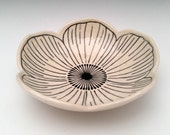 SHIPS NOW Small Ceramic Serving Bowl Anemone Flower Bowl
