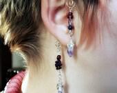 Boho Ear Cuff  Amethyst Celtic Gypsy Ear Wrap Gift for Her, Stocking Stuffer