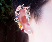 Rainbow Crystal Vine Ear Cuff  Wrap Fairy