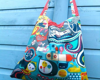 Yellow Submarine - Red and Navy - 2 in 1 peg bag / Clothespin bag - Original Beaky design