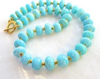 Gorgeous Peruvian Blue Opal, 22kg Vermeil, Byzantine Inspired Fine Gemstone Necklace...