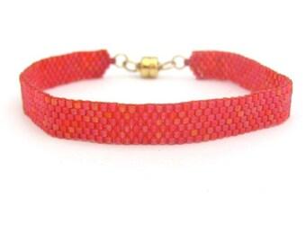Red Friendship Bracelet, Peyote bracelet, Stack Layer, Magnetic Clasp, Woven Bracelet, Made in America, Yoga Zen Bracelet