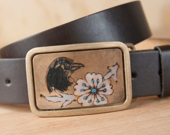 Handmade Buckle - Bird Belt Buckle with crow in the Heather Pattern - Leather inlay with Bronze