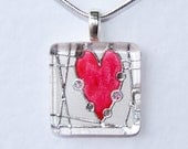 Handmade Glass Tile Red & Silver Heart Pendant