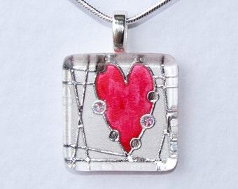 Handmade Glass Tile Red & Silver Heart Pendant
