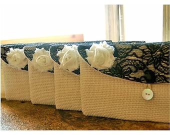 Personalize Bridesmaid gift burlap clutch purse bag black lace bridesmaid clutch wedding clutch bridal clutch cosmetic MakeUp Set 3 4 5 6