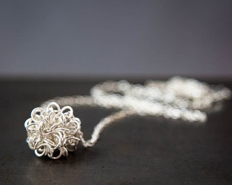 Silver Antimatter Pendant, Coiled Wire Ball Science Jewelry Gift For Her, Physics Jewelry