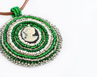Cameo Pendent // Beaded // Necklace // Green, Silver, and Ivory // Bead Embroidery // Seed Beads