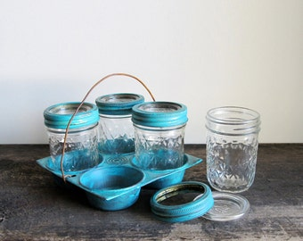 Upcycled Vintage Muffin Tin with Vintage Ball Pint Jelly Jars
