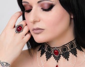 Steampunk choker gothic goth necklace Ruby red - FEATURED in devolution magazine - Swarovski drop and elegant draped chains SINISTRA