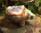 Ancient Tortoise Turtle Animal Totem Figurine Celestite Gemstone