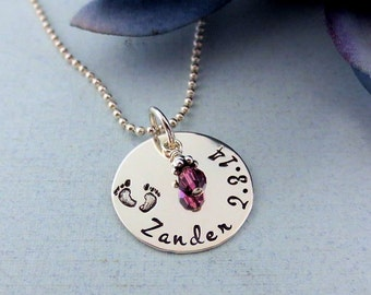 Personalized Baby Name Necklace - New Mom Necklace - Baby Feet Necklace - Birthstone Necklace -  Push Present - Mothers Jewelry