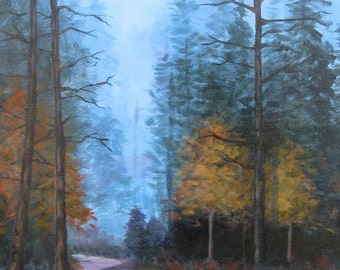 Painting, Landscape, art, painting on canvas, modern art, 16 X 20, foust, woods, fall, fall landscape