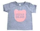 Sister Bear Infant TriBlend Heather Grey TShirt with Pink Print