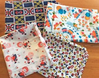 Vintage Fabric, Cute Kitschy Childrens Print Novelty Fabric, Nautical Print Anchors, Raggedy Ann, 7 Yard Stash