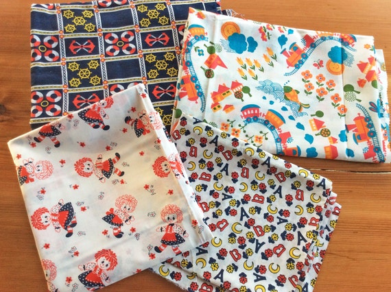 Items similar to vintage fabric cute kitschy childrens for Cute childrens fabric