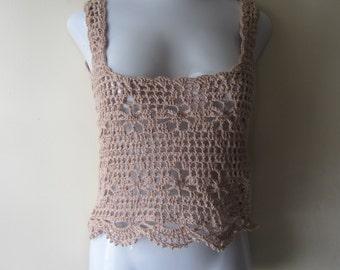BEIGE MESH TANK top, Crochet tank top, Crochet tank top, Boho tank top, festival clothing, tank top, festival top, gypsy, summer top, hippie