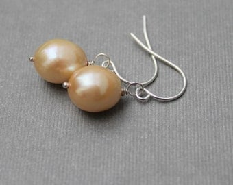 Yellow Pearl Earrings, Pearl Drop Earrings, Freshwater Pearl Jewelry, Buttercup Yellow, Sterling Silver Leverbacks