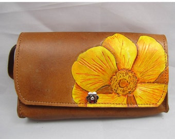 Leather Clutch Purse - Yellow Flower Spring Has Sprung