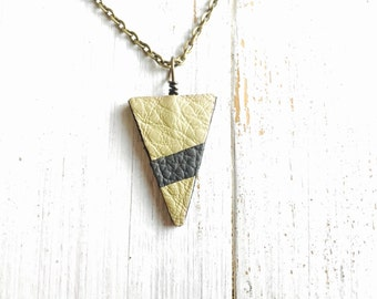 Vinyl record & Leather Necklace, green grey triangle geometry