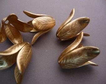 4 Tulip Flower Bead Caps in Brass - Huge