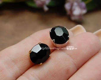 Jet Black Vintage Sew On Swarovski Crystal 12x10mm Oval With Prong Setting Crystal Sew On Craft Supplies Jewelry Making