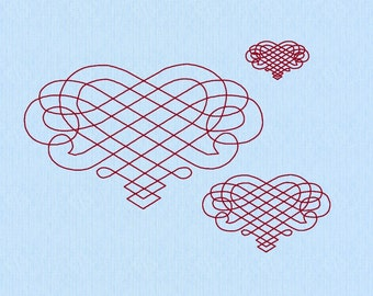 Heart Calligraphy Scroll Machine Embroidery Design File in 3 sizes