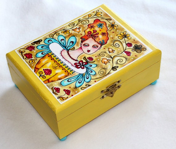 Items similar to wood jewelry box large whimsical garden for Girls large jewelry box