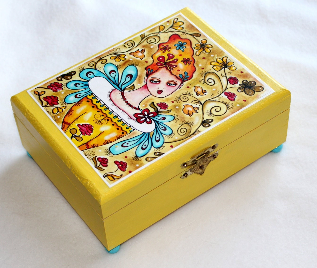 Wood jewelry box large whimsical garden girl print for Girls large jewelry box