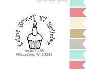 0001 JLMould Baby's First Birthday Custom Return Address Rubber Stamp for Kid Party - You choose style