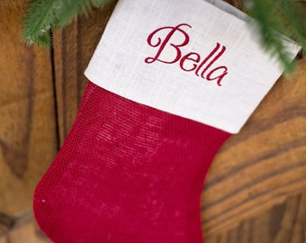SALE!!! CHRISTMAS in JULY - Burlap Christmas Stocking - Red and cream detail - Free monogramming