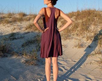 Organic Dress - Racer Back Tank Wanderer Tunic - ( organic tissue cotton knit ) - organic cotton dress
