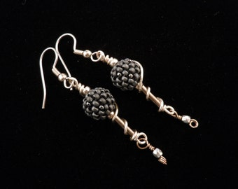 Beaded Earrings, Beaded Beads, Dangle Earrings, Long Earrings, Bugle Beads, Wire Wrapped Earrings, Silver Earrings