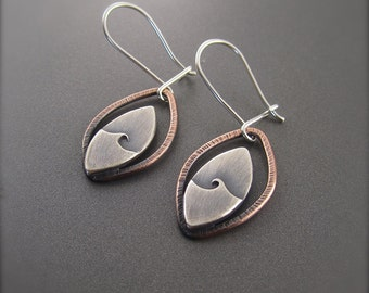 Handmade Solar Reflections Mixed Metal Sterling Silver, Copper Earrings
