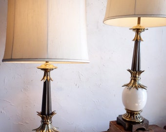 Glorious Tommi Parzinger Ostrich Egg Stiffel Table Lamps PAIR  Regency 1950s with Original Shades